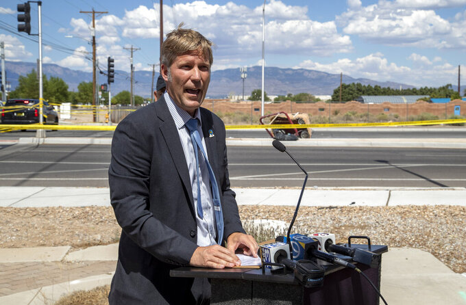 Albuquerque Mayor Tim Keller speaks during a news conference in Albuquerque, N.M., Saturday, June 26, 2021. Police said five occupants of a hot air balloon died after they crashed on a busy street. (AP Photo/Andres Leighton)