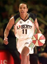FILE - In this July 14, 1999, file photo, Eastern Conference's Teresa Weatherspoon, of the New York Liberty, drives down the court during the inaugural WNBA All-Star basketball game at New York's Madison Square Garden. The West defeated the East 79-61. Weatherspoon is among 13 finalists for enshrinement later this year into the Basketball Hall of Fame. (AP Photo/Kathy Willens, File)