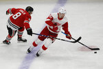 Detroit Red Wings center Christoffer Ehn, right, controls the puck against Chicago Blackhawks left wing Dominik Kubalik during the first period of an NHL hockey game in Chicago, Sunday, Jan. 5, 2020. (AP Photo/Nam Y. Huh)