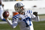 Indianapolis Colts quarterback Philip Rivers warms up before an NFL football game against the Pittsburgh Steelers, Sunday, Dec. 27, 2020, in Pittsburgh. (AP Photo/Don Wright)