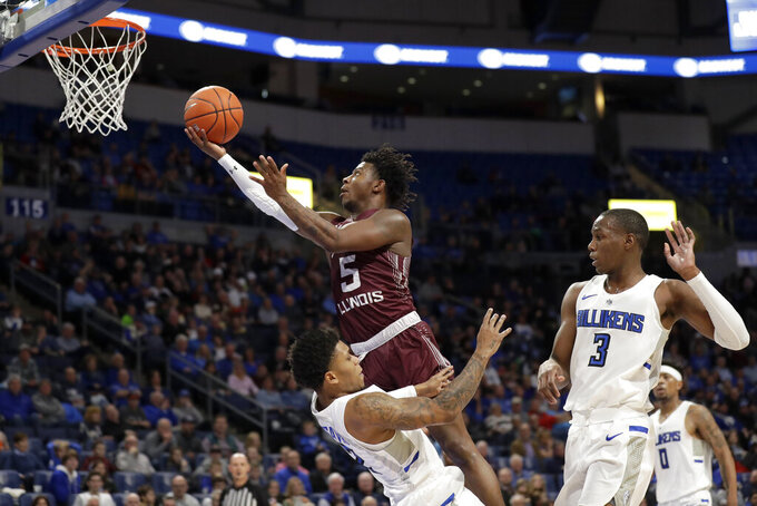Southern Illinois' Lance Jones (5) heads to the basket as Saint Louis' Tay Weaver and Javonte Perkins (3) defend during the first half of an NCAA college basketball game Sunday, Dec. 1, 2019, in St. Louis. (AP Photo/Jeff Roberson)