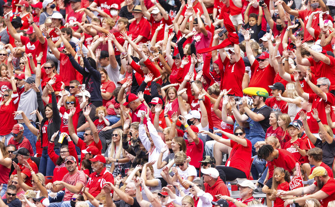Nebraska fans do the wave as the Huskers play against Fordham during the second half of an NCAA college football game Saturday, Sept. 4, 2021, at Memorial Stadium in Lincoln, Neb. (AP Photo/Rebecca S. Gratz)