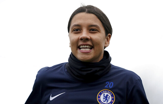 Chelsea's Samantha Kerr warms up ahead of the FA Women's Super League match against Reading at The Cherry Red Records Stadium, London, Sunday Jan. 5, 2020. (Tess Derry/PA via AP)