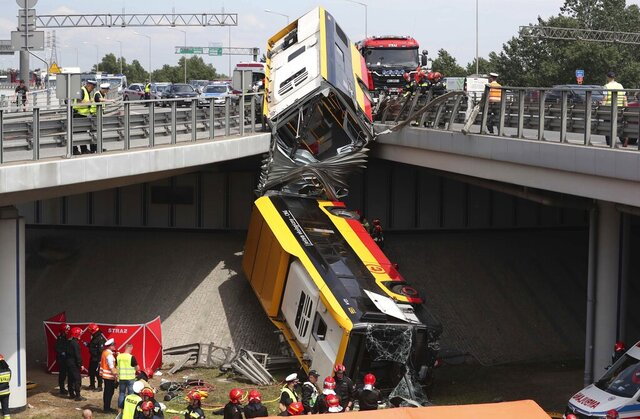 The wreckage of a Warsaw city bus is shown after the articulated bus crashed off an overpass, killing one person and injuring about 20 people, in Warsaw, Poland, on June 25, 2020. The accident forced Warsaw Mayor Rafal Trzaskowski, who is a runner-up candidate in Sunday presidential election, to suspend his campaigning.(AP Photo/Czarek Sokolowski)