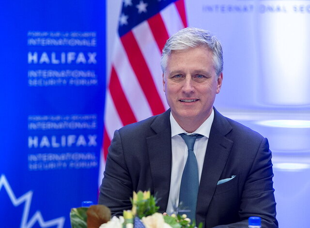 U.S. National Security Advisor Robert O'Brien attends a roundtable event at the Halifax International Security Forum in Halifax on Saturday, Nov. 23, 2019.  (Andrew Vaughan/The Canadian Press via AP)