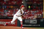 St. Louis Cardinals starting pitcher Adam Wainwright throws during the first inning of a baseball game against the Milwaukee Brewers, Friday, Sept. 13, 2019, in St. Louis. (AP Photo/Jeff Roberson)