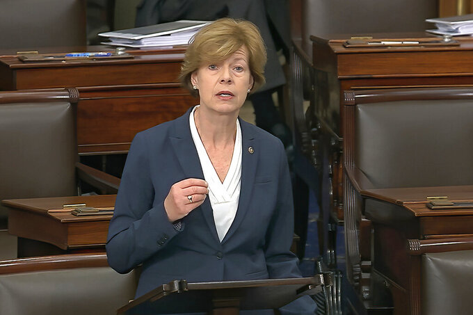 FILE - In this Wednesday, Feb. 5, 2020, file image from video, Sen. Tammy Baldwin, D-Wis., speaks on the Senate floor about the impeachment trial against President Donald Trump at the U.S. Capitol in Washington. Baldwin isn't saying what her chances are to be picked as presumptive presidential nominee Joe Biden's running mate. She's also not saying whether she shares concerns raised by other Democrats about her Republican colleague, Sen. Ron Johnson, possibly assisting a Russian disinformation campaign. (Senate Television via AP, File)