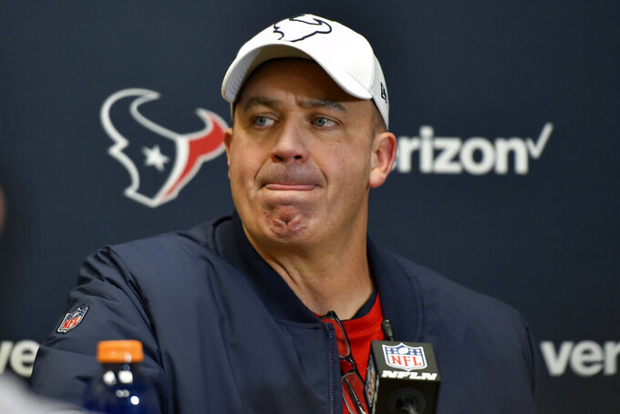 In this Jan. 12, 2020, photo, Houston Texans head coach Bill O'Brien speaks during a news conference following an NFL divisional playoff football game against the Kansas City Chiefs, in Kansas City, Mo. The Texans fired coach and general manager Bill O'Brien on Monday, Oct. 5. The firing comes a day after Sunday's 31-23 loss to the Vikings dropped the Texans to 0-4 for the first time since 2008. (AP Photo/Ed Zurga, File)