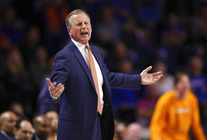 Tennessee coach Rick Barnes gestures during the first half of the team's NCAA college basketball game against Tennessee on Saturday, Jan. 12, 2019, in Gainesville, Fla. (AP Photo/Matt Stamey)