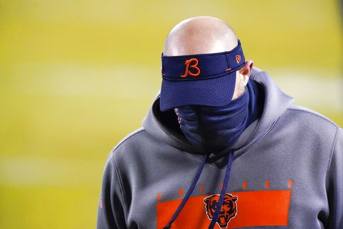 Chicago Bears head coach Matt Nagy walks off the field after an NFL football game against the Green Bay Packers Sunday, Jan. 3, 2021, in Chicago. The Packers won 35-16. (AP Photo/Nam Y. Huh)
