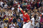 Boston Red Sox's Christian Arroyo celebrates his solo home run in the eighth inning of a baseball game Toronto Blue Jays at Fenway Park, Friday, June 11, 2021, in Boston. (AP Photo/Elise Amendola)