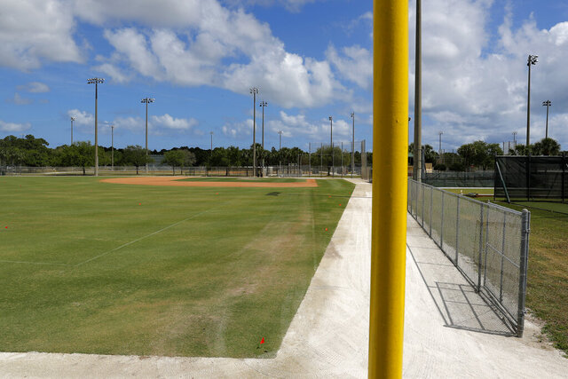 An empty practice field is seen at the Miami Marlins spring training baseball facility, Monday, March 16, 2020, in Jupiter, Fla. On Sunday night, the Centers for Disease Control and Prevention recommended gatherings of 50 people or more be canceled or postponed across the country for the next eight weeks. Major League Baseball planned to update teams Monday on its health policy.(AP Photo/Julio Cortez)