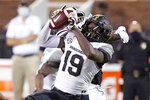 Vanderbilt wide receiver Chris Pierce Jr. (19) pulls down a pass reception against Mississippi State during the second half of an NCAA college football game in Starkville, Miss., Saturday, Nov. 7, 2020.  (AP Photo/Rogelio V. Solis)
