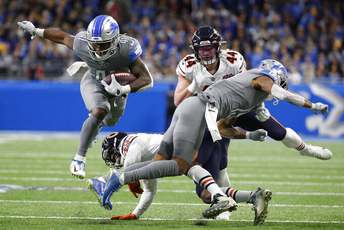 Detroit Lions running back J.D. McKissic (41) rushes during the first half of an NFL football game against the Chicago Bears, Thursday, Nov. 28, 2019, in Detroit. (AP Photo/Rick Osentoski)
