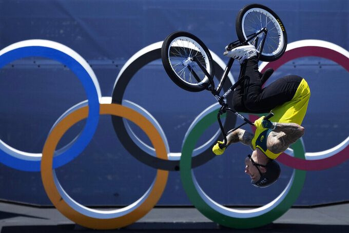 Logan Martin of Australia competes in the men's BMX freestyle final at the 2020 Summer Olympics, Sunday, Aug. 1, 2021, in Tokyo, Japan. (AP Photo/Ben Curtis)