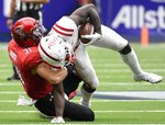 Mississippi wide receiver A.J. Brown, right, is tackled by Texas Tech defensive back Justus Parker (31) during the first half of a college football game, Saturday, Sept. 1, 2018, in Houston. (AP Photo/Eric Christian Smith)