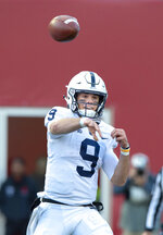 Penn State quarterback Trace McSorley (9) makes a pass during the second half of an NCAA college football game Saturday, Oct. 20, 2018, in Bloomington, Ind. Penn State won 33-28. (AP Photo/Doug McSchooler)
