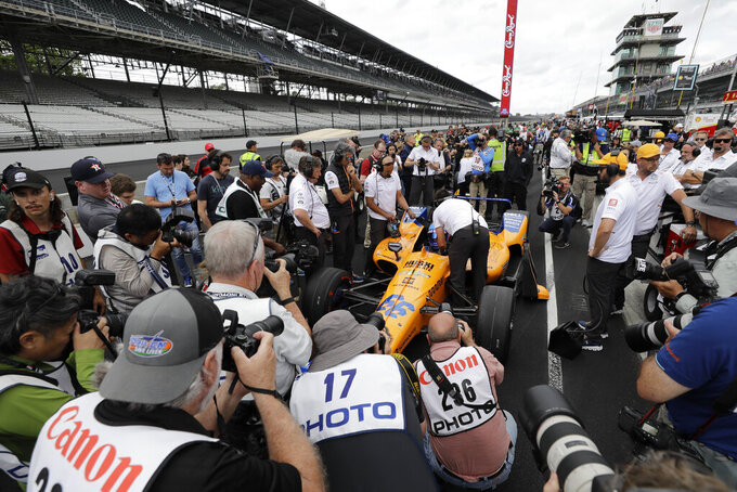 Fernando Alonso, of Spain, prepares to make his final qualification attempt for the Indianapolis 500 IndyCar auto race at Indianapolis Motor Speedway, Sunday, May 19, 2019 in Indianapolis. Alonso failed to make the field (AP Photo/Darron Cummings)