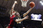 Purdue guard Sasha Stefanovic (55) shoots in front of Rutgers guard Paul Mulcahy (4) during the second half of an NCAA college basketball game in West Lafayette, Ind., Saturday, March 7, 2020. Rutgers defeated Purdue 71-68 in overtime. (AP Photo/Michael Conroy)
