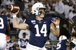 Penn State quarterback Sean Clifford throws a pass during the first half of the team's NCAA college football game against Michigan in State College, Pa., Saturday, Oct. 19, 2019. (AP Photo/Gene J. Puskar)