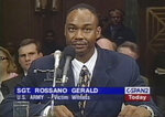 In this March 30, 2000, photo, Sgt. Rossano Gerald testifies before Congress in Washington. Videos of Lt. Caron Nazario, a Black and Latino Army lieutenant who was pepper sprayed and handcuffed during a traffic stop in rural Virginia, have been viewed millions of times. Gerald, who sued the Oklahoma Highway Patrol after he was pulled over with his young son and subjected to a protracted search in 1998, said Nazario's traffic stop shows that nothing has changed. (C-SPAN via AP)