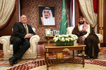 Secretary of State Mike Pompeo meets with Saudi Arabia's Crown Prince Mohammed bin Salman, at Al-Salam Palace in Jiddah, Saudi Arabia, Monday, June 24, 2019. (AP Photo/Jacquelyn Martin, Pool)