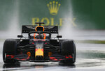 Red Bull driver Max Verstappen of the Netherlands steers his car during the qualifying session at the Istanbul Park circuit racetrack in Istanbul, Saturday, Nov. 14, 2020. The Formula One Turkish Grand Prix will take place on Sunday. (Clive Mason/Pool via AP)
