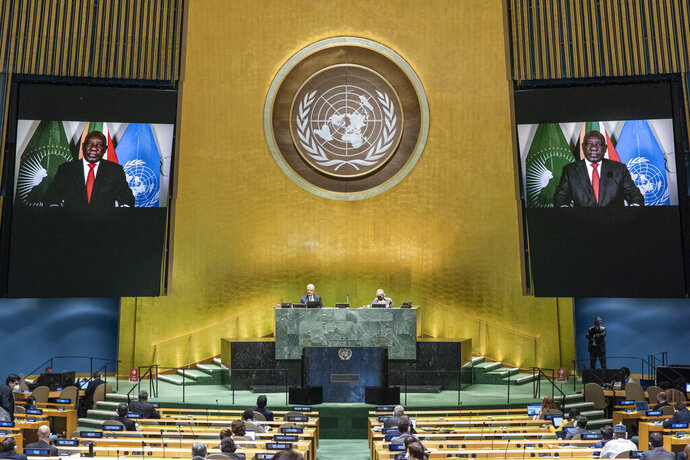 In this photo provided by the United Nations, South African President Cyril Ramaphosa speaks in a pre-recorded message played during the 75th session of the United Nations General Assembly, Tuesday, Sept. 22, 2020, at U.N. headquarters in New York. The U.N.'s first virtual meeting of world leaders started Tuesday with pre-recorded speeches from some of the planet's biggest powers, kept at home by the coronavirus pandemic that will likely be a dominant theme at their video gathering this year. (Eskinder Debebe/UN via AP)
