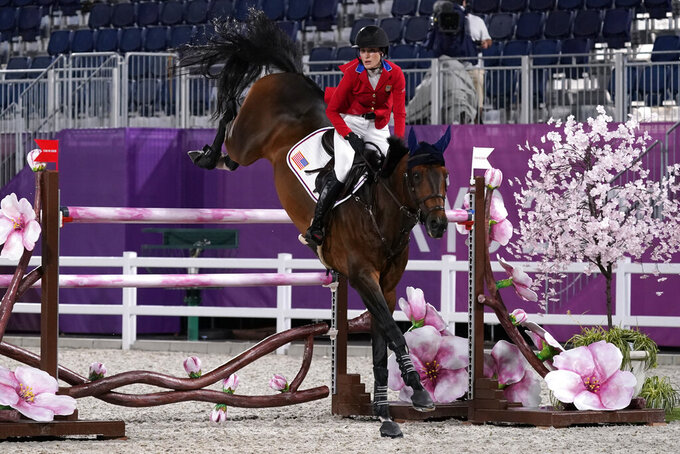 United States' Jessica Springsteen, riding Don Juan van de Donkhoeve, competes during the equestrian jumping team final at Equestrian Park in Tokyo at the 2020 Summer Olympics, Saturday, Aug. 7, 2021, in Tokyo, Japan. (AP Photo/Carolyn Kaster)