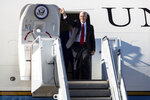 Vice President Mike Pence waves from the door of Air Force Two after arriving at the Wilkes-Barre/Scranton International Airport in Pittston Township, Pa., on Monday, Oct. 21, 2019. Pence visited northeastern Pennsylvania to speak on trade at the Advanced Optics Schott North plant in nearby Duryea, Pa. (Christopher Dolan/The Times-Tribune via AP)