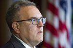 Acting EPA Administrator Andrew Wheeler announces that new coal plants no longer have to meet planned, tougher, Obama era emissions standards, during a news conference at the EPA Headquarters in Washington, Thursday, Dec. 6, 2018. (AP Photo/Cliff Owen)