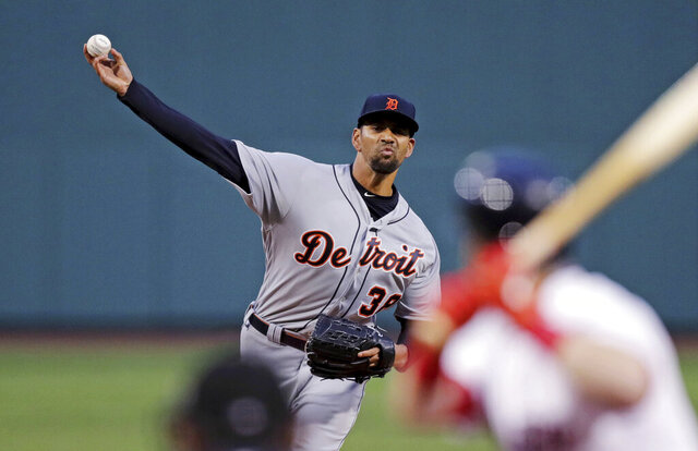 FILE - In this April 24, 2019, file photo, Detroit Tigers starting pitcher Tyson Ross delivers against the Boston Red Sox during the first inning of a baseball game in Boston. Ross has reached agreement on a $1.75 million minor league contract with the San Francisco Giants that includes an invitation to big league camp at spring training. A person with direct knowledge of the deal confirmed that Ross was set to join San Francisco, speaking on condition of anonymity Friday, Jan. 3, 2020, because the contract wasn't yet official. (AP Photo/Charles Krupa, File)