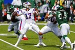 Buffalo Bills quarterback Josh Allen (17) throws a pass during the second half of an NFL football game against the New York Jets in Orchard Park, N.Y., Sunday, Sept. 13, 2020. (AP Photo/Jeffrey T. Barnes)