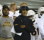 Arizona State head football coach Herm Edwards watches the team's play against Oregon in the second quarter of an NCAA college football game Saturday, Nov. 17, 2018, in Eugene, Ore. (AP Photo/Chris Pietsch)