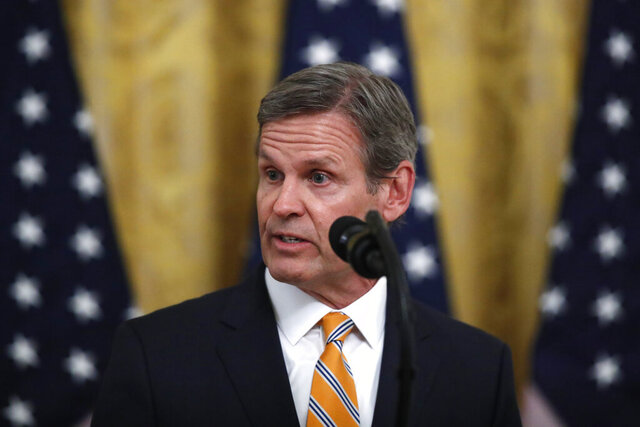 Tennessee Gov. Bill Lee speaks about protecting seniors, in the East Room of the White House, Thursday, April 30, 2020, in Washington. (AP Photo/Alex Brandon)