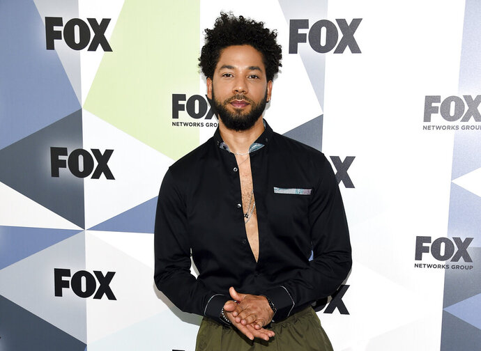 FILE - In this Monday, May 14, 2018 file photo, actor and singer Jussie Smollett attends the Fox Networks Group 2018 programming presentation after party at Wollman Rink in Central Park in New York. Smollett, who is black and gay, has said he was attacked by two masked men shouting racial and anti-gay slurs early Jan. 29, 2019. Chicago police said on Saturday, Feb. 16,