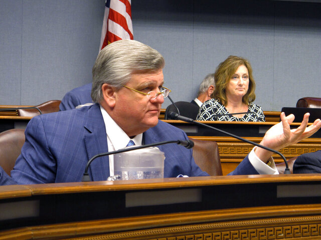FILE - In this Aug. 13, 2019 file photo, House Republican leader Lance Harris, R-Alexandria, asks questions of Louisiana Department of Health officials about new contract awards for the Medicaid managed care program, in Baton Rouge, La.  Harris, who once led the state House Republican delegation, announced Monday, Jan. 25, 2021, that he's running to be chairman of the Louisiana GOP, challenging the current party leader. (AP Photo/Melinda Deslatte)