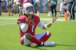 Arizona Cardinals quarterback Kyler Murray celebrates his touchdown against the Jacksonville Jaguars during the first half of an NFL football game, Sunday, Sept. 26, 2021, in Jacksonville, Fla. (AP Photo/Phelan M. Ebenhack)