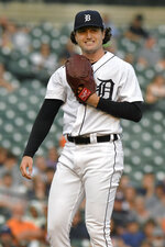 Detroit Tigers starting pitcher Casey Mize reacts after home plate umpire James Hoye called a ball on a pitch to a Tampa Bay Rays batter during the first inning of a baseball game Saturday, Sept. 11, 2021, in Detroit. (AP Photo/Jose Juarez)