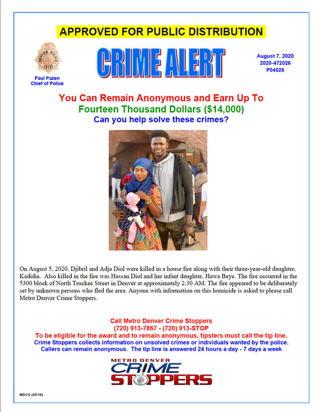 This Internet wanted poster was released by the Denver Police Department on Friday, Aug. 7, 2020, as they and federal investigators seek the public's help in finding a suspected arsonist of a house fire where five people were found dead in Denver on Wednesday, Aug. 5. Three people escaped the fire by jumping from the home's second floor. Authorities suspect the fire was intentionally set. (Denver Police Department via AP)