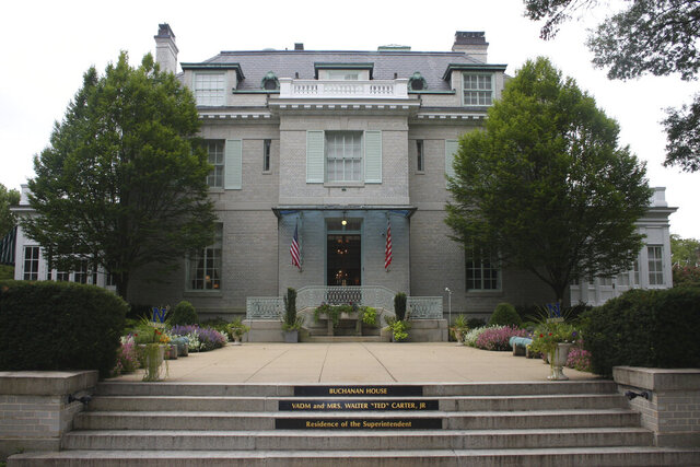 This Aug. 23, 2017 photo shows the Buchanan House, residence of the superintendent of the U.S. Naval Academy in Annapolis, Md. The chairman of the U.S. Naval Academy's Board of Visitors is calling for the removal of names of two members of the Confederacy from buildings at the academy.  The home is named after Franklin Buchanan, the academy's first superintendent who left to join the Confederate Navy at the outbreak of the Civil War. (AP Photo/Brian Witte)