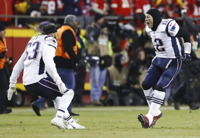 New England Patriots quarterback Tom Brady (12) celebrates with middle linebacker Kyle Van Noy (53) after the AFC Championship NFL football game, Sunday, Jan. 20, 2019, in Kansas City, Mo. (AP Photo/Charlie Neibergall)
