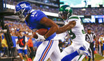 New York Giants wide receiver Bennie Fowler (18) runs past New York Jets' Santos Ramirez (39) for a touchdown during the first half of a preseason NFL football game Thursday, Aug. 8, 2019, in East Rutherford, N.J. (AP Photo/Adam Hunger)