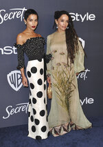 Zoe Kravitz, left, and Lisa Bonet arrive at the InStyle and Warner Bros. Golden Globes afterparty at the Beverly Hilton Hotel on Sunday, Jan. 5, 2020, in Beverly Hills, Calif. (Richard Shotwell/Invision/AP)