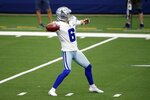 Dallas Cowboys punter Chris Jones (6) throws a pass as the Cowboys fake a punt in the first half of an NFL football game against the Atlanta Falcons in Arlington, Texas, Sunday, Sept. 20, 2020. (AP Photo/Michael Ainsworth)