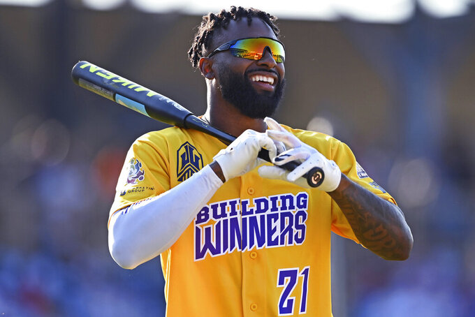 Cleveland Browns wide receiver Jarvis Landry smiles during the Jarvis Landry Celebrity Softball game Saturday, June 12, 2021 in Eastlake, Ohio. (AP Photo/David Dermer)