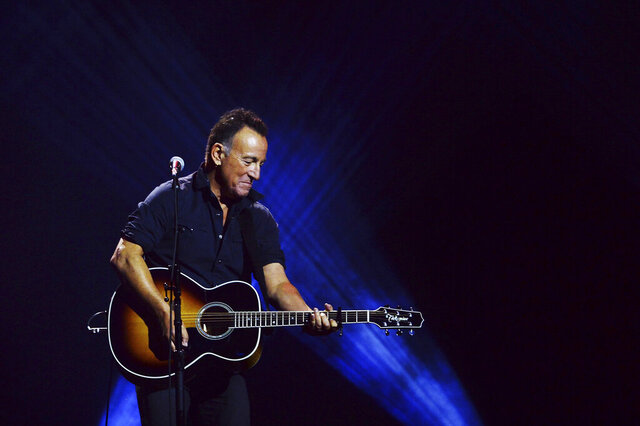 FILE - Bruce Springsteen performs during the closing ceremonies of the Invictus Games in Toronto on Sept. 30, 2017. Springsteen's latest album,