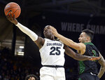 Colorado guard McKinley Wright IV, left, drives to the rim for a basket past Sacramento State guard Izayah Mauriohooho-Le'Afa in the first half of an NCAA college basketball game, Saturday, Nov. 30, 2019, in Boulder, Colo. (AP Photo/Cliff Grassmick)