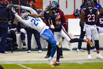 Detroit Lions cornerback Amani Oruwariye (24) breaks up a pass intended for Chicago Bears wide receiver Darnell Mooney (11) in the second half of an NFL football game in Chicago, Sunday, Dec. 6, 2020. (AP Photo/Charles Rex Arbogast)