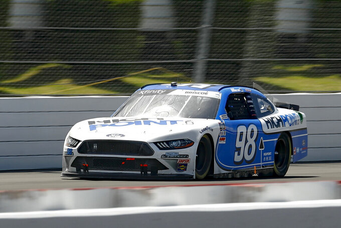 Chase Briscoe drives down the front straight during a NASCAR Xfinity Series auto race at Pocono Raceway, Sunday, June 28, 2020, in Long Pond, Pa. (AP Photo/Matt Slocum)